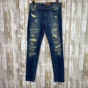 Joe's Jeans Dawn Mid Rise Skinny Destroyed Jeans